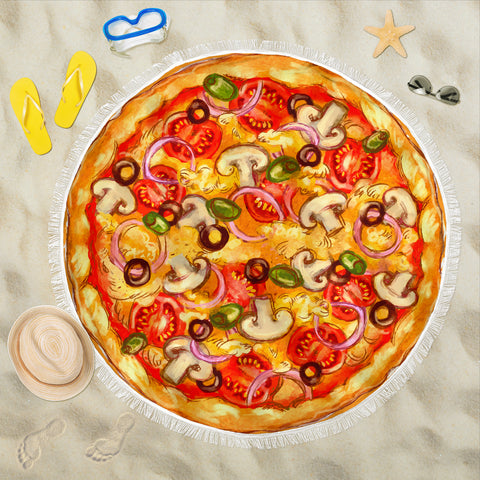 Image of Pizza Round Beach Blanket Deluxe Pizza Blanket - Love Family & Home