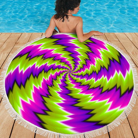Psychedelic Spiral Green Purple Beach Blanket 59 Inch - Love Family & Home