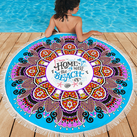 Image of Home Is Where The Beach Is Mandala Beach Blanket 59 Inches - Love Family & Home