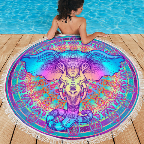 Elephant Mandala Round Beach Blanket 59 Inch - Love Family & Home