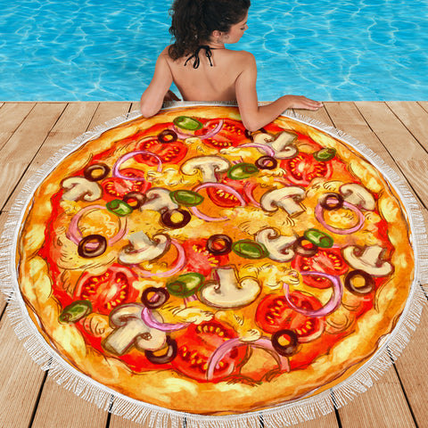 Pizza Round Beach Blanket Deluxe Pizza Blanket - Love Family & Home