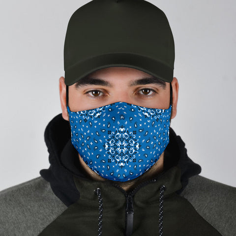 Image of Blue Bandana Style Design Face Mask - Adult & Youth - Love Family & Home