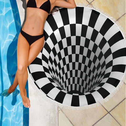 Image of Checkered Hole 3D Beach Blanket - Love Family & Home