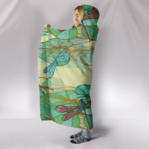 Image of Swamp Lotus Dragonfly Hooded Blanket - Love Family & Home