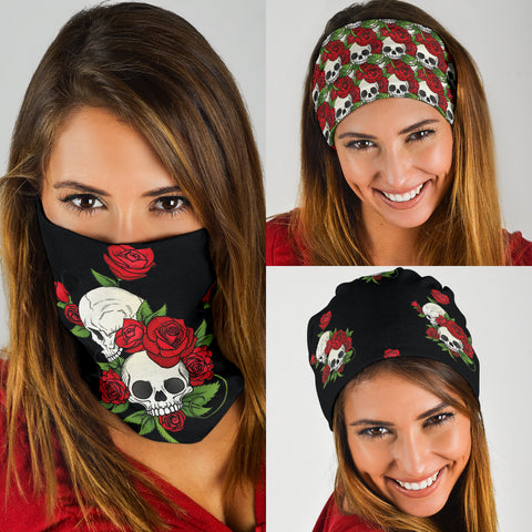 Image of Skull Couple Roses (Black) - Bandana 3 Pack - Love Family & Home