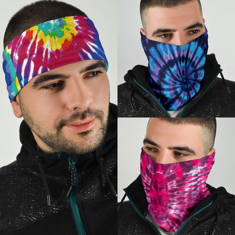 Image of Tie Dye Face Mask Neck Gaiters - 3 Pack - Love Family & Home