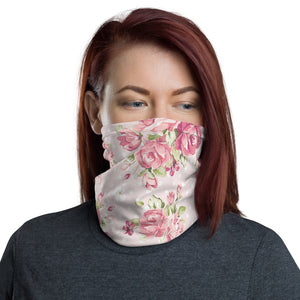 Pink Floral Face Mask, Pink Flowers Neck Gaiter - Love Family & Home