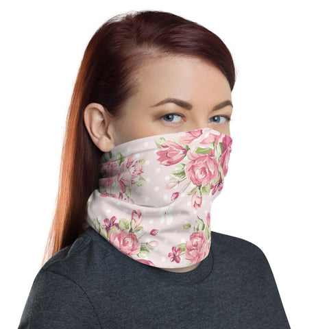 Image of Pink Floral Face Mask, Pink Flowers Neck Gaiter - Love Family & Home