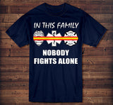 In This Family Nobody Fights Alone Dispatcher Gold and Red Line T-Shirt EMT, Rescue, Firefighters & Dispatchers