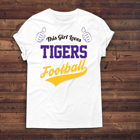 Image of This Girl Loves Tigers Football T-Shirt