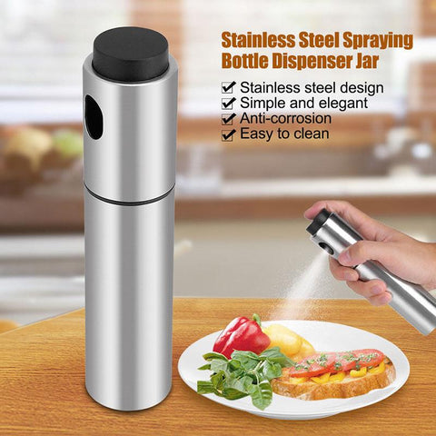 Image of Stainless Steel Oil Sprayer Olive Pump Dispenser Healthy Spray Eco-Friendly - Love Family & Home