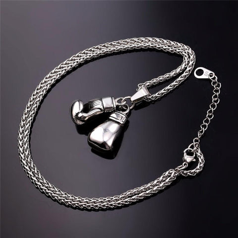 Image of Boxing Gloves Necklace & Pendant Sport Jewelry - Love Family & Home