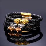 Skull Bracelet Magnetic Leather Skeleton Bangle - Streetwear Jewelry