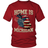 Home Is Michigan State Fishing Flag T-shirt & Apparel