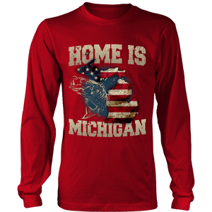 Home Is Michigan State Fishing Flag T-shirt & Apparel - Love Family & Home