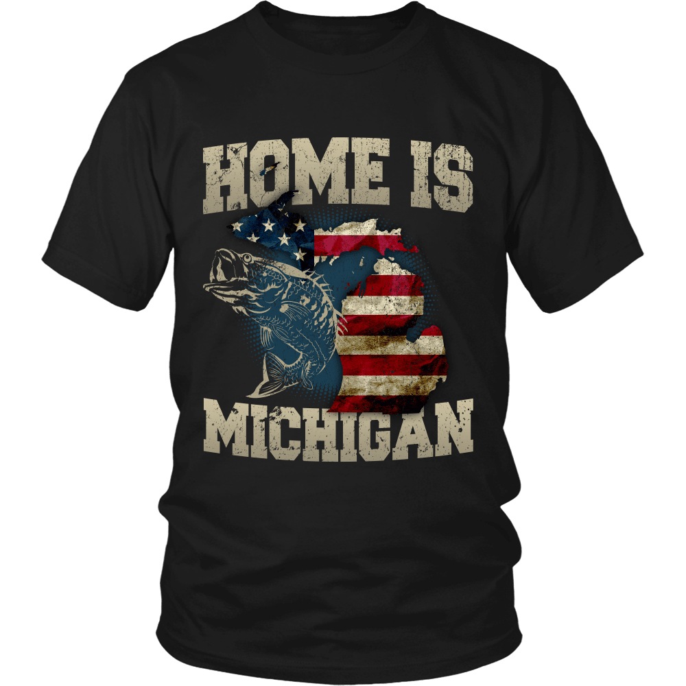 Home Is Michigan State Fishing Flag T Shirt Amp Apparel