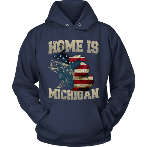 Image of Home Is Michigan State Fishing Flag T-shirt & Apparel - Love Family & Home