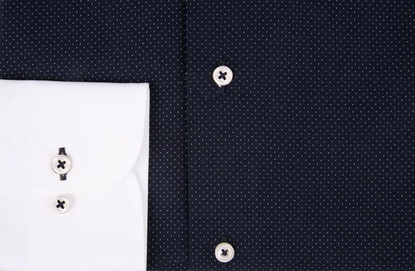 Two-Tone Pin Dot Print Dress Shirt