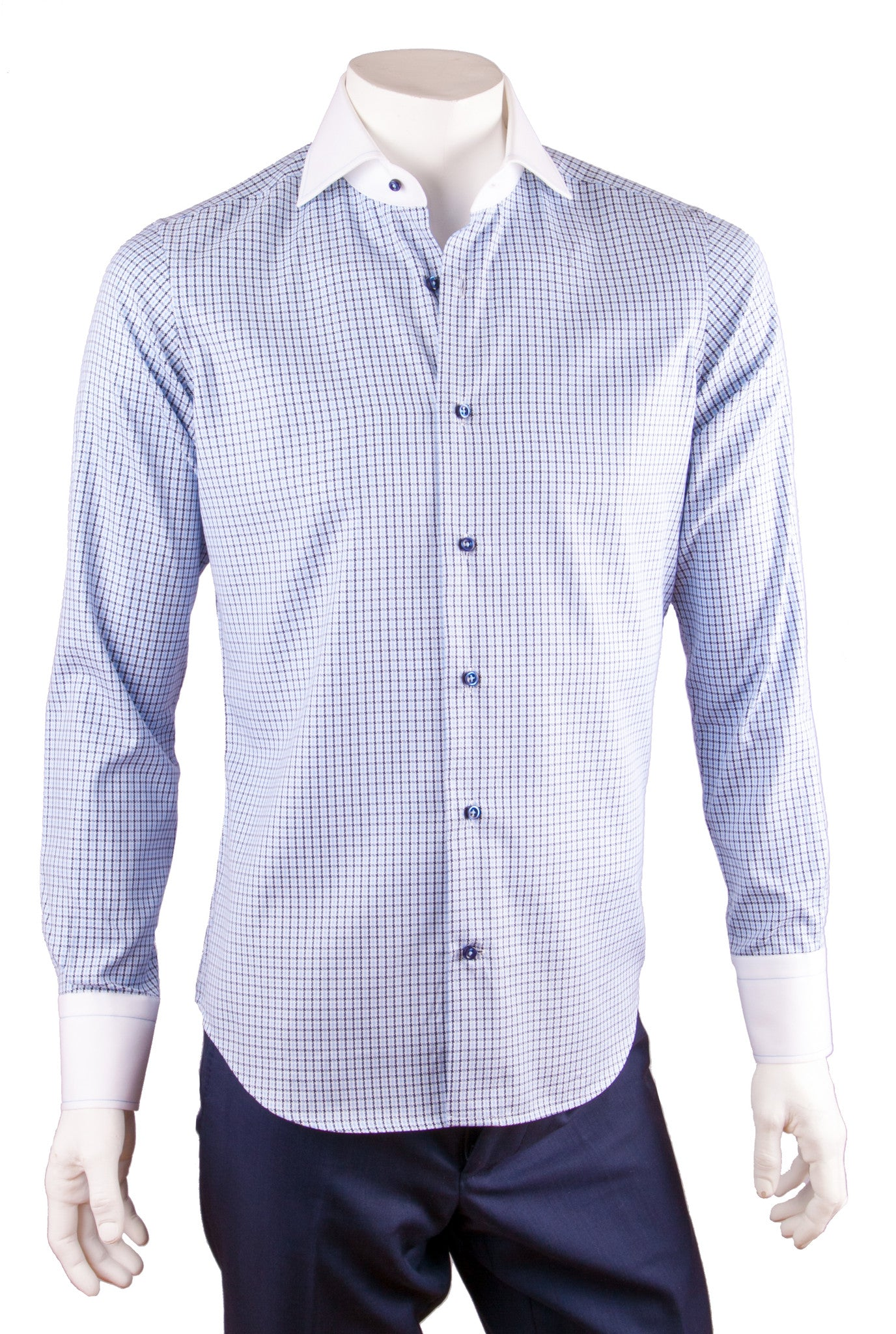 Two-Tone Check Print Cotton Dress Shirt
