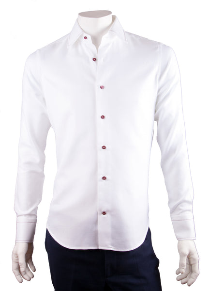 White Pique Print Dress Shirt
