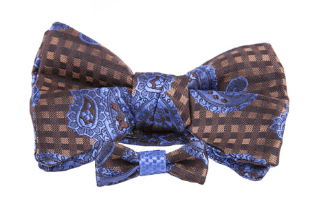 Paisley Print Bow Tie with matching Lapel Bow Tie Boutonniere