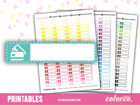 Credit Card, Bill Payment Labels | Printable Planner St