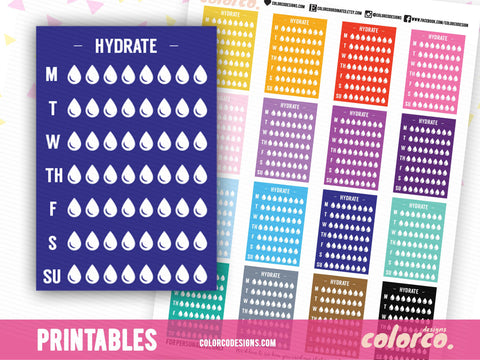 HYDRATE -  Stackable Sidebar Checklists |  Erin Condren