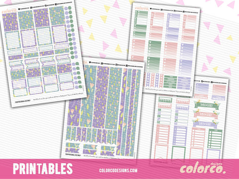 PASTEL SPRING April Weekly kit | Printable Planner Stickers | Erin Condren Life Planner