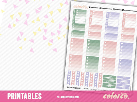 PASTEL SPRING CHECKLIST kit | Printable Planner Stickers | HAPPY PLANNER MAMBI