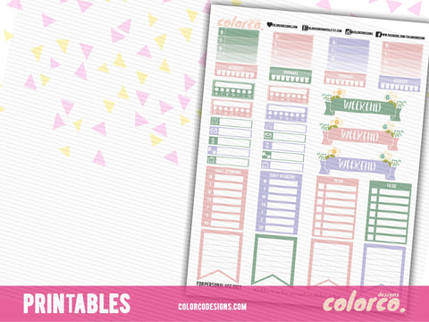 PASTEL SPRING TRACKER Kit | Printable Planner Stickers