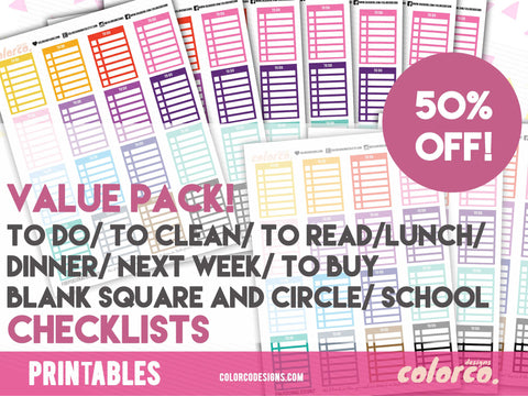 VALUE PACK - Stackable Sidebar Checklists |  Erin Condren