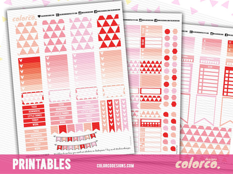 February Kit | Happy Planner / MAMBI | Printable Planner Stickers