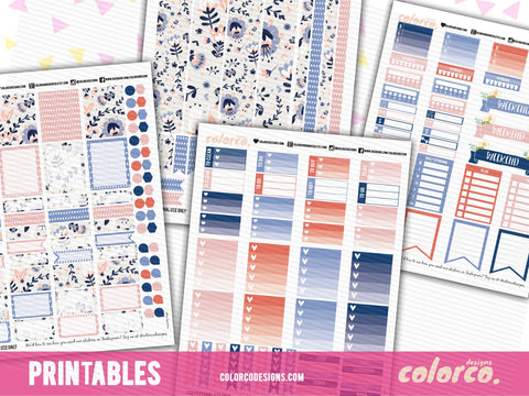 RUSTIC SPRING April Weekly kit | Printable Planner Stickers | Erin Condren Life Planner