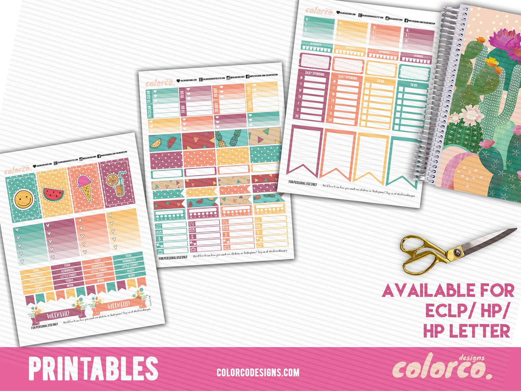 Funky Summer Weekly Kit - FULL | MAMBI Happy Planner Letter