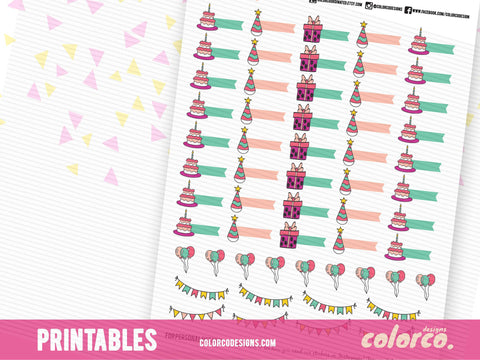 Cute Birthday Trackers and Decorative planner stickers  | Printable Planner Stickers | Erin Condren, Happy Planner, Filofax, Kikki k