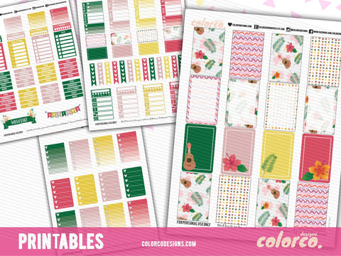 HAWAII SUMMER Weekly kit | Printable Planner Stickers | HAPPY PLANNER MAMBI
