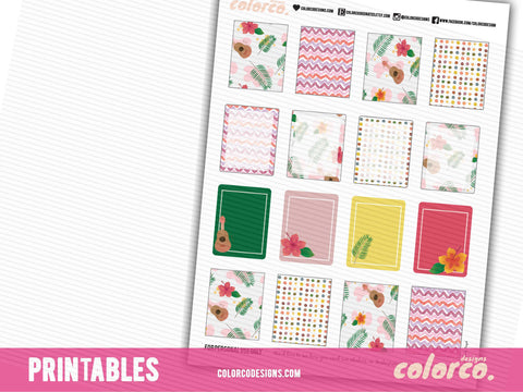 HAWAII SUMMER full boxes | Printable Planner Stickers | Erin Condren Life Planner