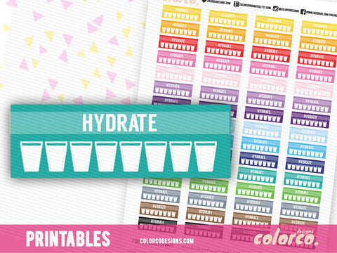 HYDRATE planner sticker - Daily Tracker |  Erin Condren | Happy Planner