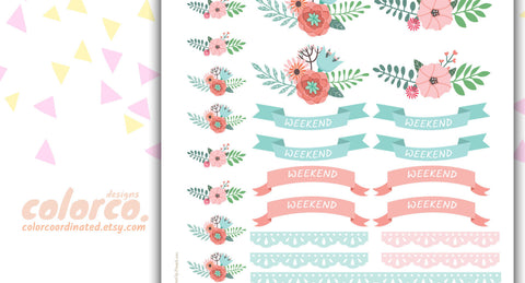 FLORAL WEEKEND banners and doily  pdf