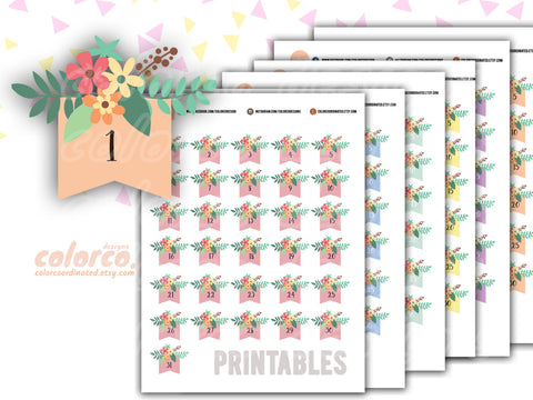 Combo! FLORAL DATE COVERS, Calendar numbers