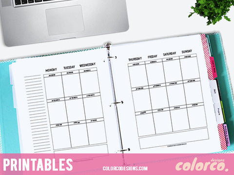 A4 Printable Planner Weekly Inserts Pages 2 sheets Erin Condren Vertical Layout and Size 210 × 297 mm