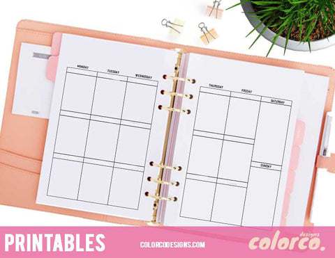 A5 Printable Planner + Weekend ( No MDN headers) / Erin Condren Vertical Layout and Size