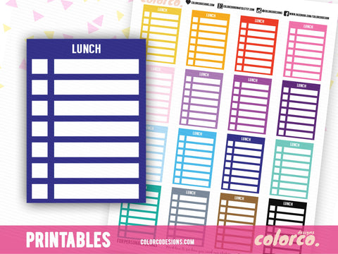 LUNCH -  Stackable Sidebar Checklists |  Erin Condren