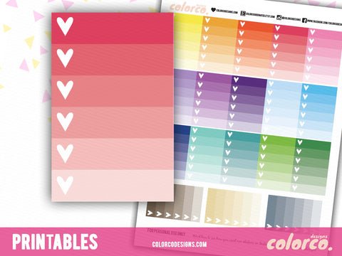 Full box ombre checklist  | Happy Planner | Printable Planner Stickers