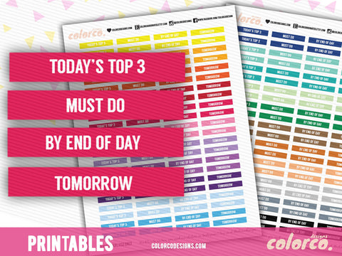 ECLP MDN HEADERS - Priority Set | Erin Condren | Happy Planner