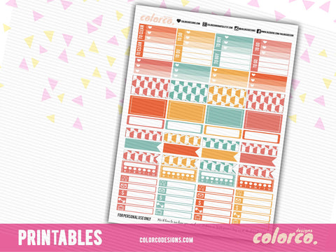 MAMBI LETTER SIZED Rainbow themed (2) | Printable Planner Stickers