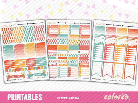 MAMBI LETTER SIZED Rainbow themed | Printable Planner Stickers