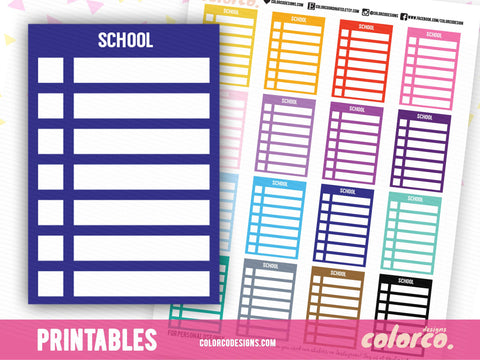 SCHOOL -  Stackable Sidebar Checklists |  Erin Condren