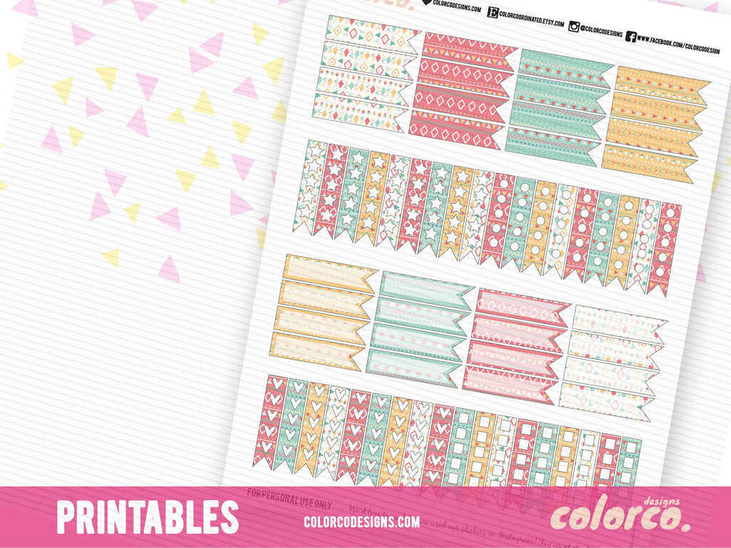 Tribal Pattern CHECKLISTS and PAGE FLAGS | Printable Planner Stickers