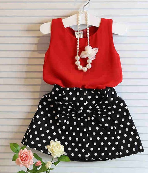 Summer Red Chiffon Vest+bow polka dot Skirt Outfit Children Clothing Kids Clothes Suit Baby Girls Clothing Sets 2015